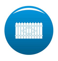 Wooden peak fence icon blue vector