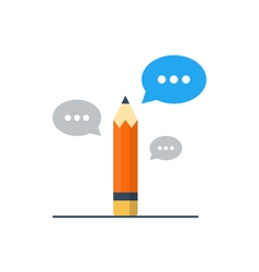 Writing skill improvement pencil with speech vector image