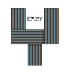 Y - unique alphabet design with basketry pattern vector