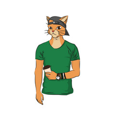 Youth man cat in cap with coffee vector