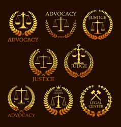 advocacy or lawyer gold heraldic icons vector image vector image