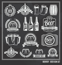 Beer chalkboard icon set vector image