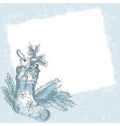 Christmas hand drawn postcard with xmas stocking vector image