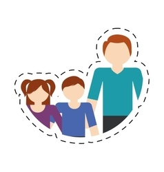 Family father and children lovely cut line vector