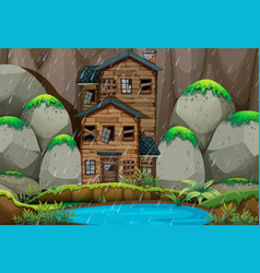ruined house by the pond in rainny season vector image vector image
