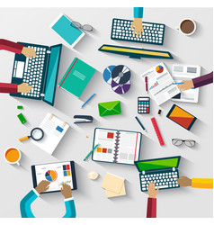teamwork at table business strategy statistic vector image vector image