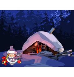 cartoon girl Snow Maiden stands near the hut vector image vector image