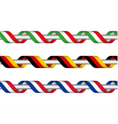 colored ribbon with the italian german french vector image