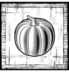 Retro pumpkin black and white vector image