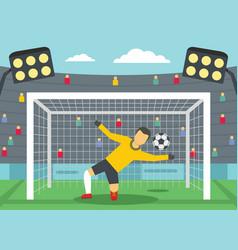 soccer goalkeeper on stadium concept flat style vector image