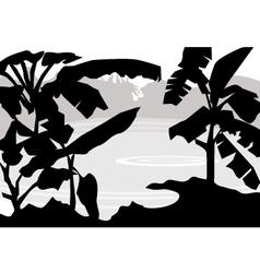 banana tree pond vector image