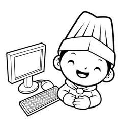 black and white funny cook mascot and personal vector image