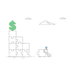 Business man solving puzzle to reach dollar sign vector