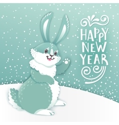 Card Happy New Year with cartoon rabbit Funny vector image