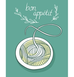 Card with spagetti vector image