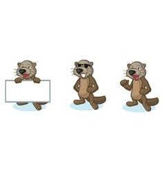Dark brown sea otter mascot happy vector