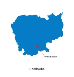 Detailed map of Cambodia and capital city Phnom vector image vector image