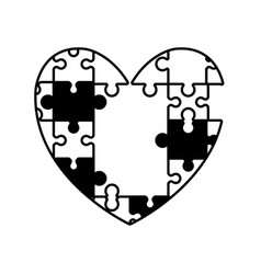 heart puzzle solution monochrome vector image vector image