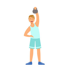 Man in sportswear doing workout with kettlebell vector