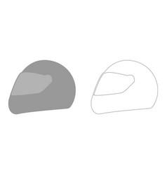 racing helmet the grey set icon vector image