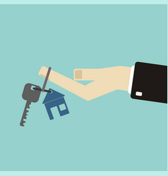 real estate concept in flat style - hand of a vector image