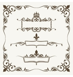 Royal crowns and fleur de lys ornate frames vector image