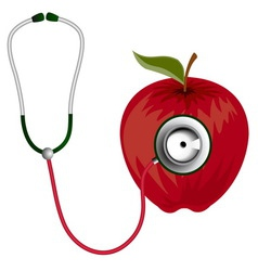 Stethoscope and red apple icon vector image