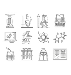 Thin line style chemistry icons vector image vector image