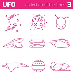 ufo alien ships icon part three vector image