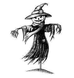 vintage halloween scarecrow vector image