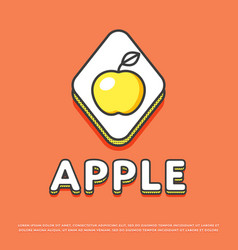 apple colour icon in line design vector image vector image