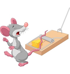 Cartoon mouse in a mousetrap isolated vector