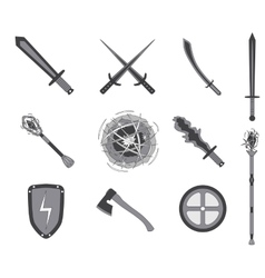 Game RPG weapons icons set vector image vector image