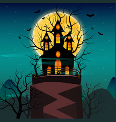 halloween night background with pumpkin haunted vector image