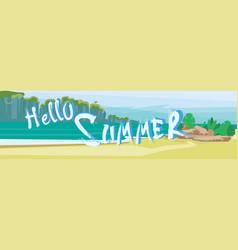 Hello summer beach vacation sand tropical seaside vector
