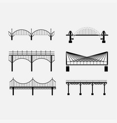 set of silhouette bridge icons bridges suspension vector image vector image