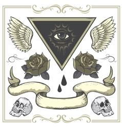 Set of Tattoo-art design elements vector image vector image