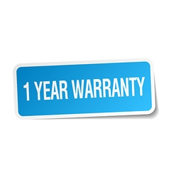 1 year warranty blue square sticker isolated on vector