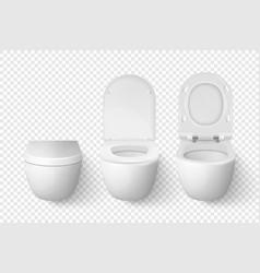 3d realistic white ceramic closed opened vector