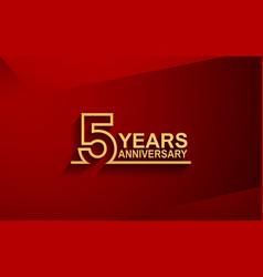 5 years anniversary line style design golden vector