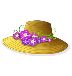 A brown hat with blooming flowers vector