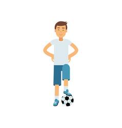 Active teen boy palying a soccer ball boy doing vector