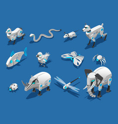 animal robots isometric icons vector image