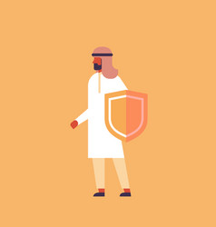 arabic businessman holding guard shield business vector image
