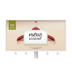 Arrival of new product card with ad on wooden vector
