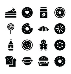 Baked food icons vector