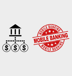 Bank hierarchy icon and grunge mobile vector