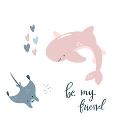 Baprint with cute shark hand drawn graphic vector
