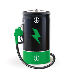 Battery with dispenser metaphor use eco power vector