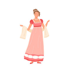 beautiful young woman wearing pink dress in 19th vector image